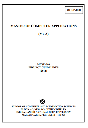 University Guidelines for MCA Synopsis Project Viva MCSP060